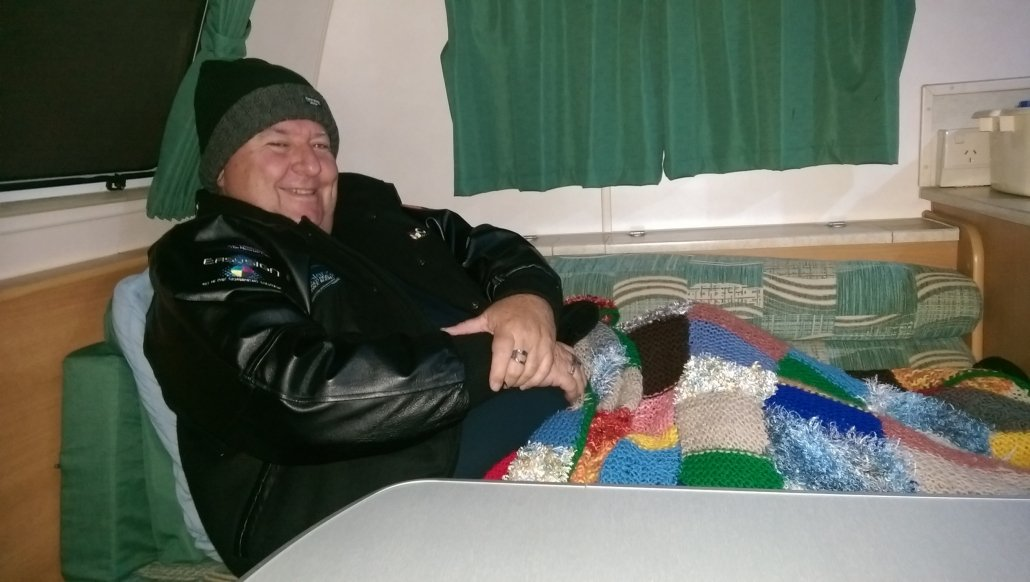 Al trying to stay warm in Mungindi 2016