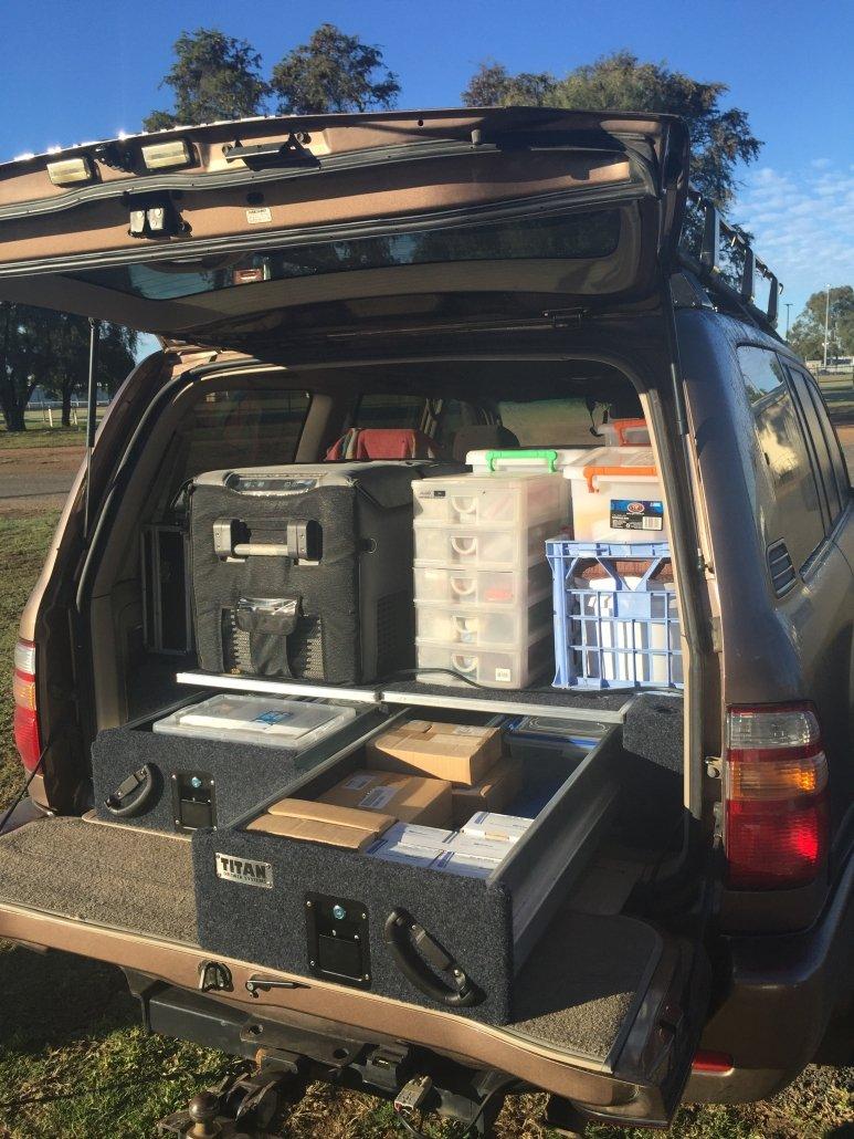Landcruiser packed for work, 2016