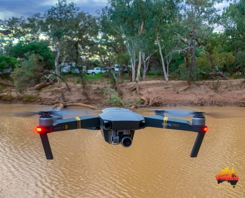 Drone flying at Paroo River, Eulo