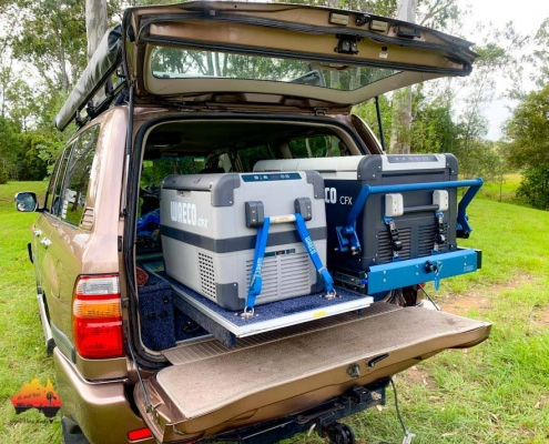 Dual Waeco fridge in back of Landcruiser