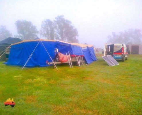 Camping in the camper trailer