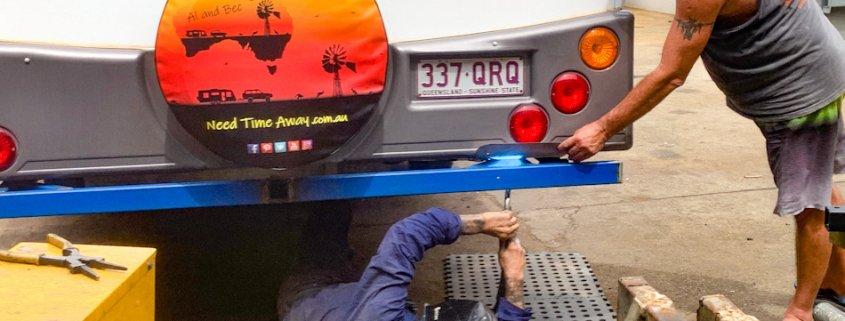 Fitting the bike rack to back of caravan